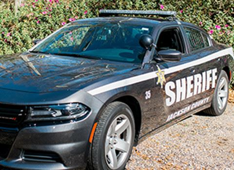 Sheriff Vehicle Parked in Front of Green Bushes