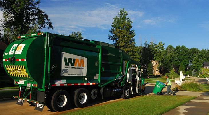 Waste Management truck outside home